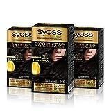Syoss Oleo Intense - Tinte 1-10 Negro Intenso – Coloración permanente Sin Amoníaco – Cobertura profesional de canas – Resultados de peluquería (Pack De 3)