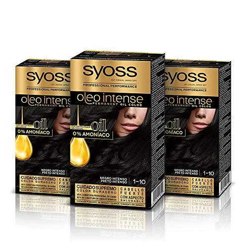 Syoss Oleo Intense Syoss Oleo Intense - Coloración Permanente Tono 1-10 Negro Intenso (Pack De 3) 3 Unidades 50 ml