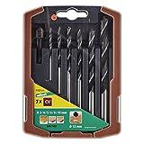 Wolfcraft 7107000 7107000-6 Brocas Espiral para Madera Compuesto de diam. 3,0-4,0-5,0-6,0-8,0-10,0 mm y 1 Fresa en Caja Deslizante de plástico 2k, plata, Set de 6 Piezas