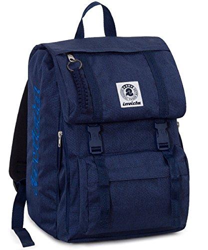 ZAINO INVICTA estensibile - SQUARE - Blu - tasca porta pc padded - scuola e tempo libero 28 LT