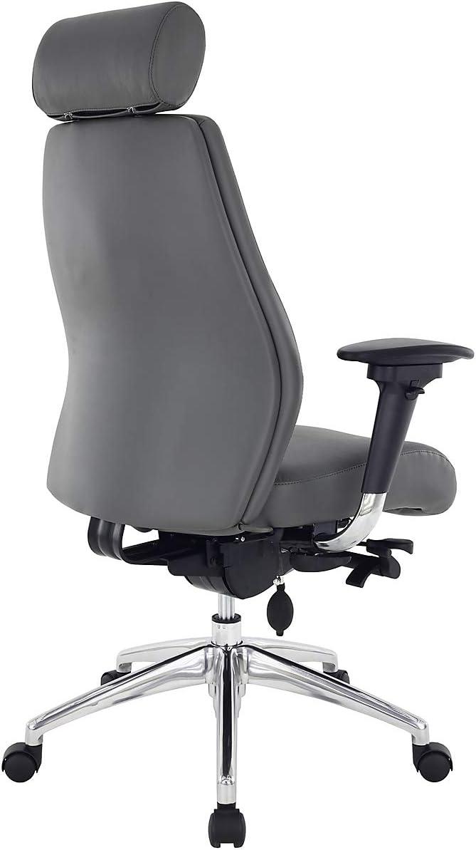 Certeo Chefsessel iTask mit Lederbezug und Kopfstütze, schwarz - Lederdrehstuhl mit Lendenstütze - Managersessel mit T-Armlehnen Sitzfarbe: Grau