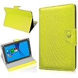 NAUC Tasche Hülle für ODYS Ieos Quad 10 Pro Schutzhülle Tablet Cover Hülle Bag Etui, Modellauswahl:Gelb Carbon-Erscheinungsbild Magnetverschluss