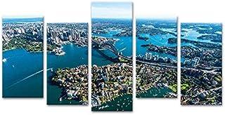 5 Panels Modern Landscape Canvas Prints Artwork Sydney Harbour Bridge Wall Art Picture Home Decor Painting for Bedroom Str...