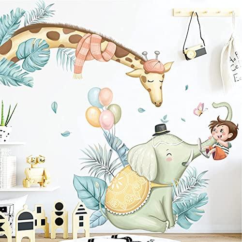 Animales Árbol Vinilos Decorativos,Adhesivas Pared Animales DIY para Habitación Giraffa elefante adhesivos vinilo de niños Infantiles Niños Bebés Guardería(H:93cm)