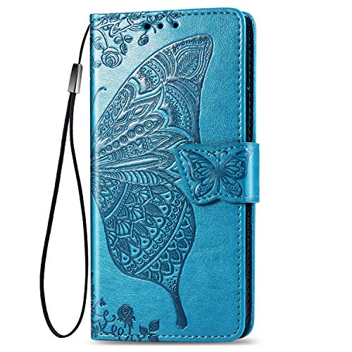 JIUNINE Cover OnePlus 9, Custodia Libro in Pelle Portafoglio Case Flip Antiurto con Disegni di Farfalla [Porta Carte] [Magnetica] [Interno TPU] per OnePlus 9, Blu