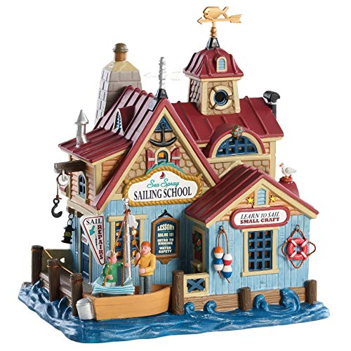 """Lemax 85336 Sea Spray Sailing School, Plymouth Corners Village Collection, 7.60"""" x 6.89"""" x 5.79"""", Porcelain Colorful Decorated Miniature Lighted Building for X'mas Decor/Gift/Collectible"""