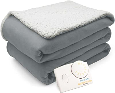 Biddeford Comfort Knit Natural Sherpa Electric Heated Blanket Full Gray