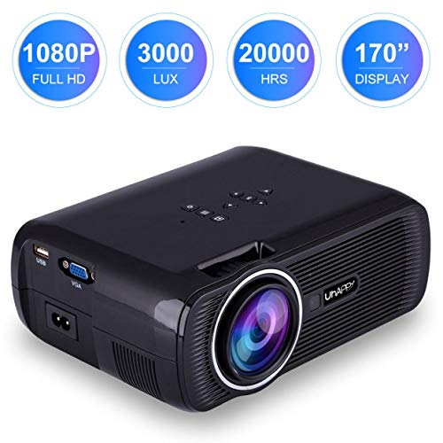 ESoku 1080P Full HD Projector, LED Mini Portable Home Theater Video Projector 3000 Lumens (Black)