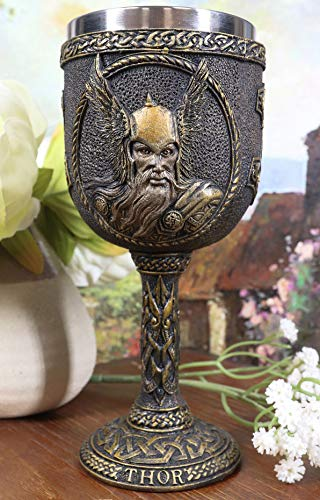 Ebros Gift Norse Mythology Thor God Of Thunder Asgard Prince 7oz Resin Wine Goblet Chalice With Stainless Steel Liner Ancient Celtic Nordic Viking Decor Kitchen And Dining Accessory