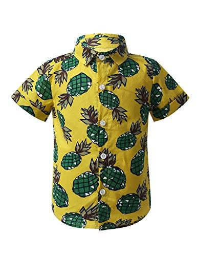 Freebily Baby Jungen Shirt Kurzarm Ananas Druck Hawaii Hemd Button Down Tops T-Shirt Sommer Urlaub Beachwear Freizeithemd Gelb 86-92