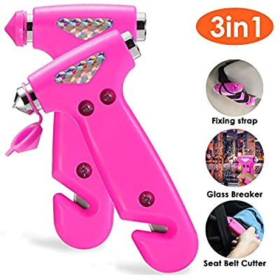 THINKWORK Car Safety Hammer for Teen Girl and Lady's Gifts, 2 Pack Three-in-One Emergency Escape Tool with Window Breaker and Seat Belt Cutter, Safety Emergency Car Escape Tool for Family, Children. from THINKWORK