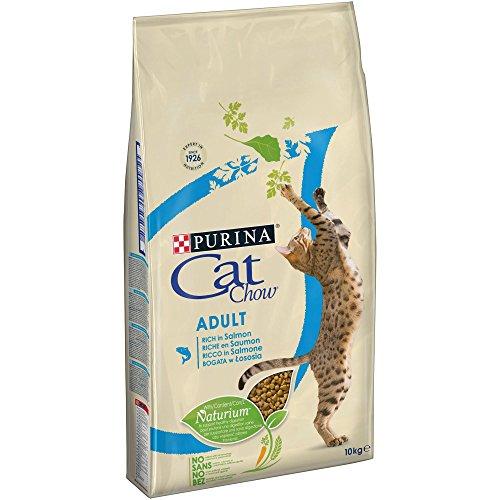 CAT CHOW Croquettes avec Naturiumtm Riche en Saumon pour Chat Adulte 10 kg