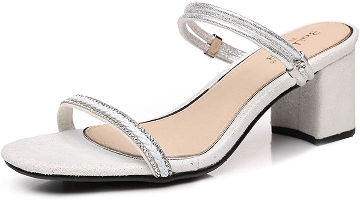 HY Sandals Slippers Two Wear Women's Summer Rough with Fashion with Rhinestone Word Lady High Heels (color   White, Size   35)