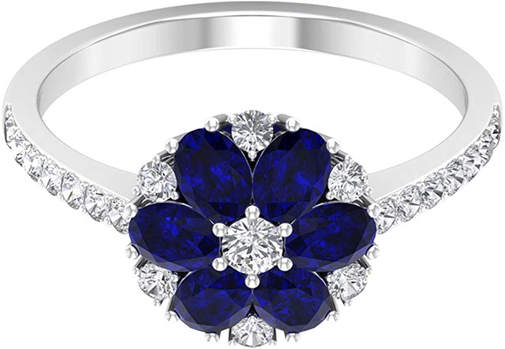 1.62 Ct 4X3mm Oval Blue Sapphire Lab Created Flower Ring, 1/2 Ct Diamond Cluster Ring, Floral Statement Ring, Unique Engagement Ring, Bridal Wedding Jewelry, 14K Gold