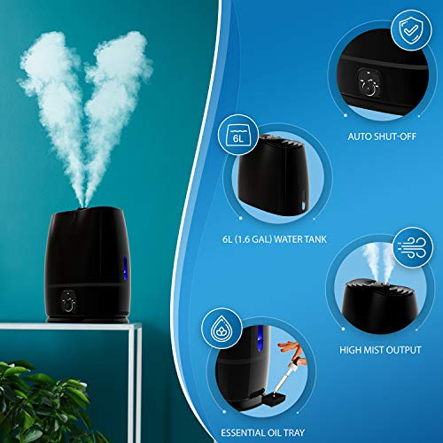 Everlasting Comfort Ultrasonic Humidifier, Black