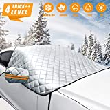 Car Windshield Snow Cover for Car Front Windscreen Ice Cover with Side Mirror Waterproof Anti-UV and Frost Guard 4-Layer Protection Half Car Cover with Hook Straps Fit Most SUV MPV (XL Snow Cover)