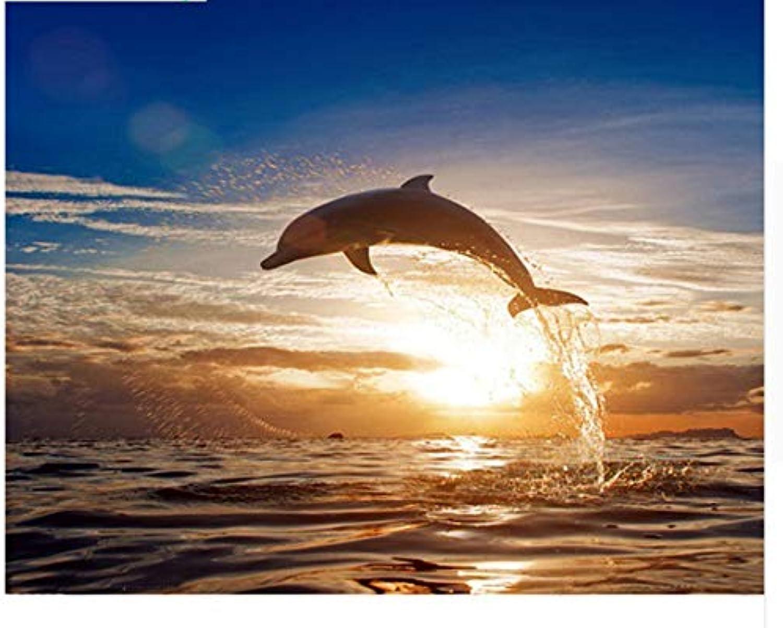 Agolong Bilder für Wohnzimmer Delphin malerei by Zahlen acryl färbung modulare Zeichnung by Anzahl Wand leinwand DIY Kunstwerk Mit Rahmen 40x50cm B07MDGQPY2   Ästhetisches Aussehen