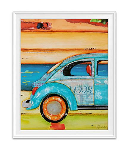 Just Roll With It, Danny Phillips Art Print, Unframed, Vintage Antique Retro Classic Car Automobile Art, Coastal Beach Nautical Mixed Media Art Wall and Home Decor Poster, 8x10 Inches