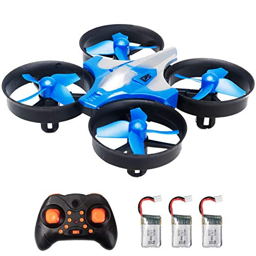 Mini Drone, RC Quadcopter for Kids and Beginners, Small Helicopter Plane with Headless Mode, Auto Hovering, 3D Flip, One-Key Start, Remote Control and 3 Batteries, Blue