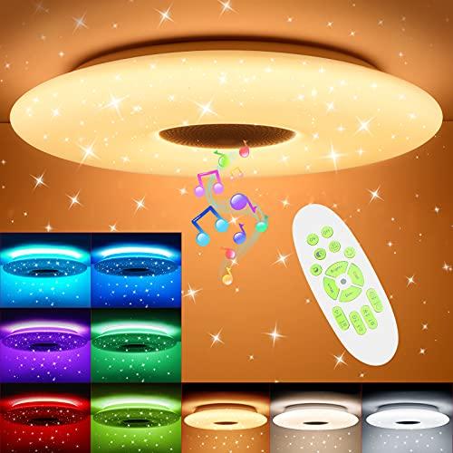 36W LED Deckenleuchte Dimmbar mit Bluetooth Lautsprecher, OPPEARL 3600lm Deckenlampe Dimmbar RGB Farbwechsel mit Fernbedienung für Schlafzimmer Küche Kinderzimmer Wohnzimmer, Rund Φ30cm 3000-6500K