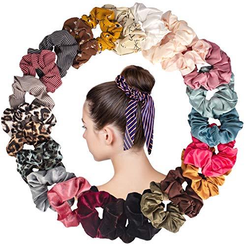 25 Pcs Velours Chouchous Cheveux En Satin Bowknot Satin Cravate à Cheveux Léopard Femme Ou Filles Accessoires Cheveux
