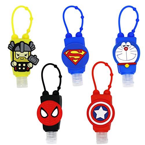 5 Botellitas de viaje 30 ml SUPER HEROES THOR/SUPERMAN/ESCUDO/DORAEMON/SPIDERMAN - DE REGALO 5 EXTENSORES PARA MASCARILLAS
