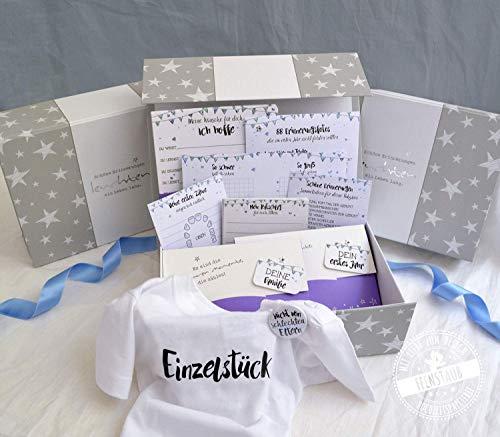 Geschenk zur Schwangerschaft und Geburt, voll gefüllte Babybox für Mädchen & Junge, Baby-Tagebuch