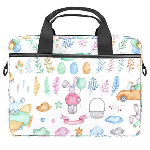Inhomer Laptop Messenger Shoulder Bag Lovely Watercolor Easter Bunny Notebook Sleeve Carrying Briefcase Handbag Briefcase