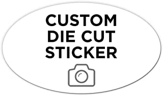 """125 Oval Custom Die Cut Stickers 7"""" x 4"""" for Laptops, Windows, Cell Phones, Cars. Upload Your own Image, Logo, or Design…"""