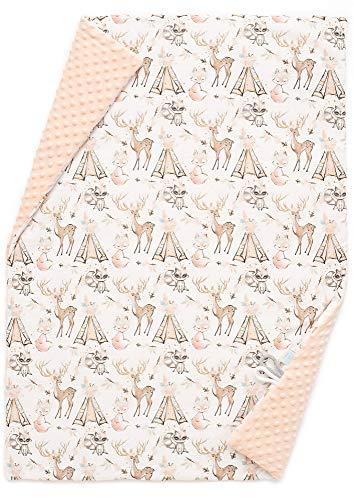 EliMeli BABYDECKE Couverture douillette de qualité supérieure pour bébé en coton super doux Minky Polar Garnissage en polaire 75 x 100 cm Certifié Öko-Tex Fabriqué en Europe (Rose - Boho Girl)