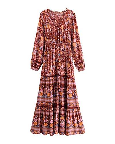 MINTLIMIT Damen Langarm Kleider Blumendruck Retro Baumwolle V-Ausschnitt Quaste Casual Bohemian Boho Vintage Midi-Kleid Rot#2778 L