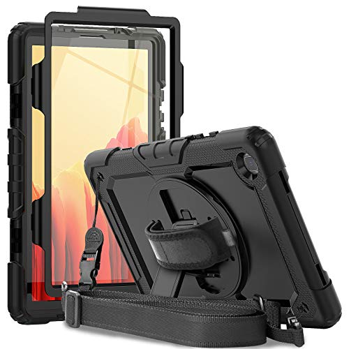 Samsung Galaxy Tab A7 Case 2020   Herize SM-T505/SM-T500/SM-T507 Case with Screen Protector   Full Body Shockproof Rugged Protective Durable Cover W/ Stand Shoudler Strap for Galaxy Tab A7 10.4 inch