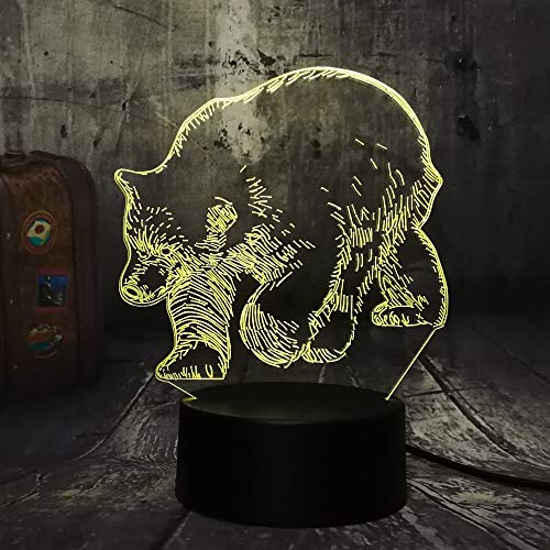 Multiple Colors Black Bear Wild Animal 3D LED Table lamp 7 Color Changing Night Light Room Home Ornaments Holiday Kid Toy Christmas Gift