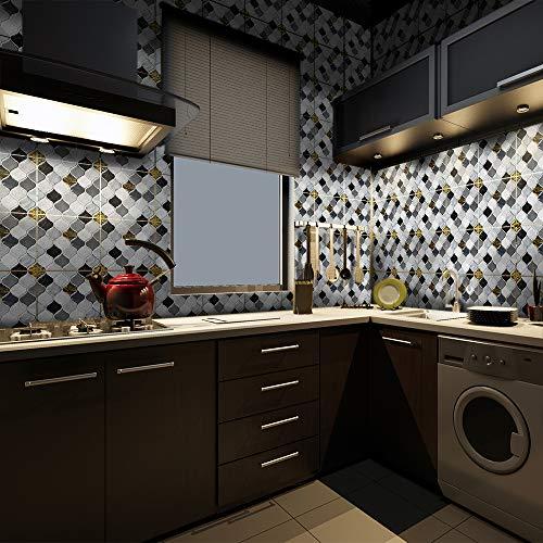 Adhesivo adhesivo para decoración del hogar, despegue y pegue las salpicaduras autoadhesivas, para sala de estar, cocina, baño, 15 x 15 cm x 10 unidades, vinilo blanco y negro