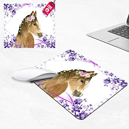 Mouse Pad,Flower Horse Rectangular Non-Slip Rubber Mouse Pad and Microfiber Glasses Cloth, Mouse Pad for Laptop,Computers & Office (9.4 x 7.87 x 0.1 Inch)