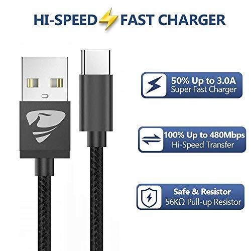 Aioneus USB C Kabel,USB C Ladekabel [2 Stück 2m] 3.0 Nylon USB Kabel Typ C Ladekabel Typ C für Samsung Galaxy A40/A50/A70/A20E/S10/S9/S8,Huawei P20/P10/P30/P9,Sony Xperia XZ/Xa1, Hero7/6/5 -Schwarz
