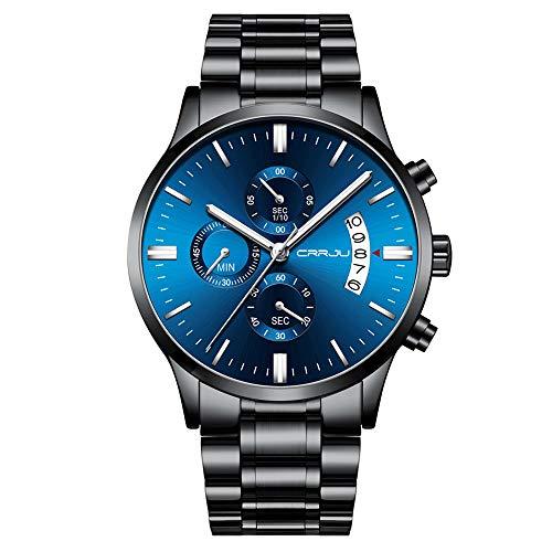 CRRJU Uhren Herren Schwarze Männer Uhr wasserdichte mit Blauem Zifferblatt Herrenuhr Business Sport Analog Quarz Chronograph Edelstahl Armband mit Datumsanzeige Kleid Armbanduhr