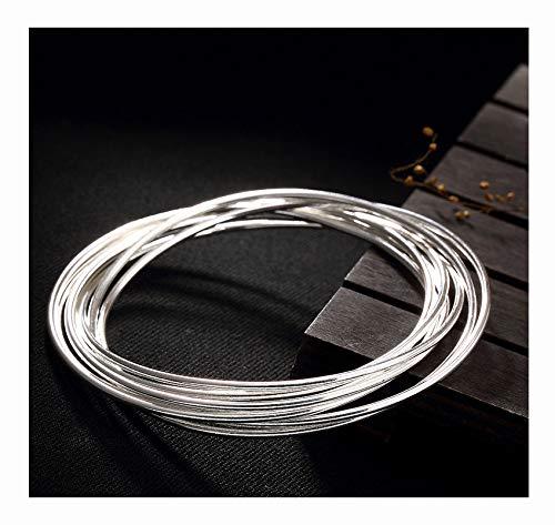 FAYFMA Pulsera de Plateado de Plata esterlina, Pulsera de Moda Simple, joyería de Plata, Pulsera de Regalo de Las señoras 64mm