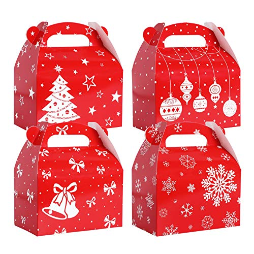 TOMNK 28 Pack Christmas Treat Boxes Gable Gift Boxes for Candy, Holiday Party Favor Supplies, Crafting and Cardboard Cookie Boxes 6 x 3.5 x 3.5 Inches