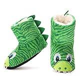 DXQDXQ Niños Zapatillas de Felpa Pantuflas Botas Dinosaurio de Dibujos Animados for Invierno Otoño Casa Cálida Zapatos Slipper Interiores for Niños Niñas Zapatos de Algodón