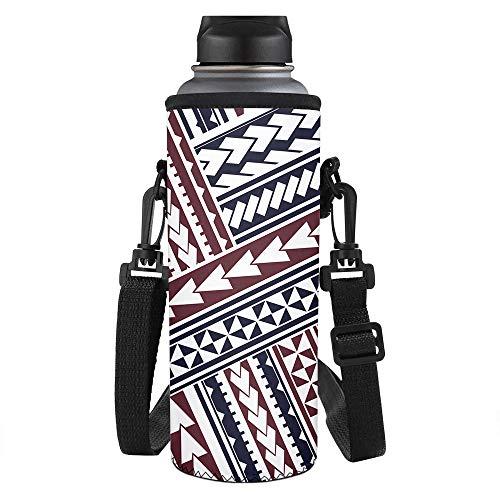 SEANATIVE Bolsa para botella de agua, cubierta de botella tribal tradicional polinesia, correa ajustable para el hombro, manga de neopreno, accesorios para botella de agua