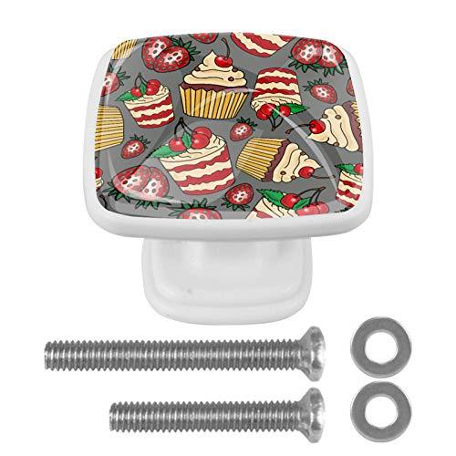 [4 unidades] pomos de cajón de cristal para gabinete, tiradores de tirón, pastel de cereza, fresa