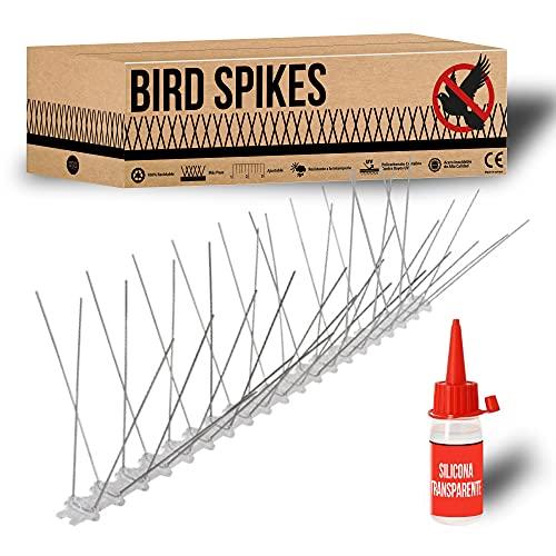 Kit Pinchos Antipalomas + Silicona, 3 Metros en Acero Inoxidable y policarbonato Ecológico   100% Reciclable. Repelente para pajaros, ahuyentador de palomas y otras aves. Hecho en España. (3 Metros)