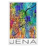 artboxONE Poster 45x30 cm Städte Retro Map of JENA Germany