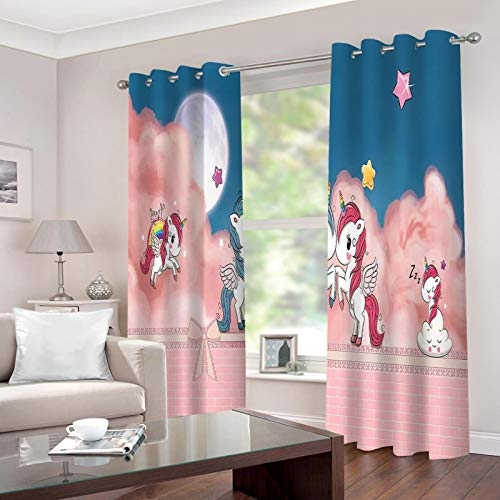Blackout Curtains 3D Digital Printing, 232x228cm, My Little Pony, Perforated Curtains, Machine Washable, Curtains for Bedroom Living Room