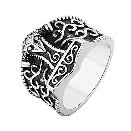 WTZWY Thors Hammer Mjolnir Viking Ring, Hombres Odin Raven 316L Acero Inoxidable símbolo nórdico escandinavo joyería, San Valentín,Plata,13