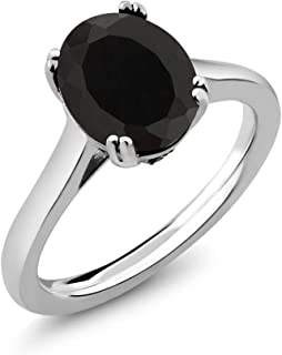 925 Sterling Silver Black Onyx and White Created Sapphire Women's Solitaire Ring (3.03 Cttw Oval, Available 5,6,7,8,9)