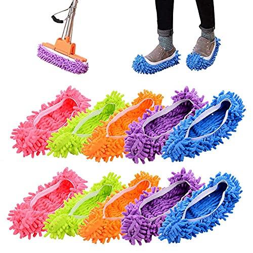 Deer Platz 5 Coppie Mop Slippers, Scarpe Pulizia in Microfibra, per Pavimenti Casa, Bagno Ufficio Cucina Casa Lucidatura Pulizia, Solo Scarpe Donna 35-40, 5 Colori