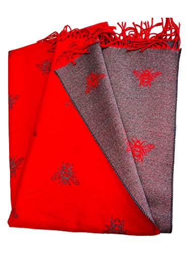 BUMBLE BEES - Bufanda súper suave, color rojo y gris