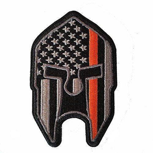 Stevens Tactical Shop Subdued Thin Orange Line American Flag Spartan Helmet Patch